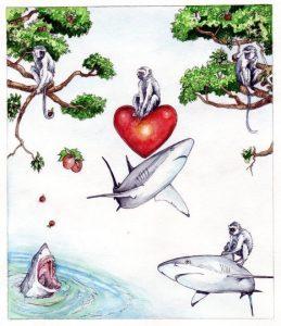 Book cover_mixed media_watercolour_pencil_monkeys_sharks_landscape_nature_animal_book_illustration 2