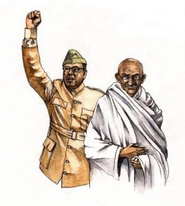 Gandhi_Subhas Chandra Bose_historical_political_figures_mixed media_watercolour_painting_pencil_drawing_book_illustration 2