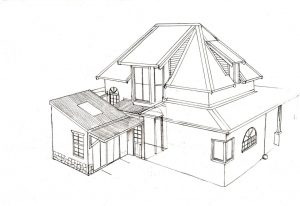 Hilltop house 1_house_design_layout_perspective_elevation_pencil_graphite_drawing_illustration 2