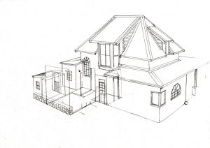 Hilltop house 2_design_layout_perspective_elevation_pencil_graphite_drawing_illustration 2