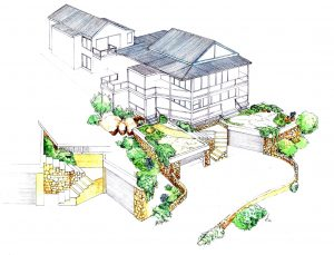 Scarborough_house_renovation_landscape_design_layout_perspective_elevation_pencil_graphite_drawing_watercolour_illustration 2