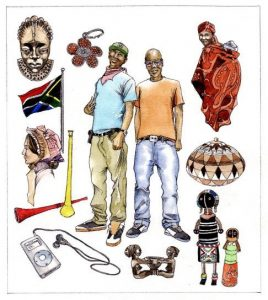 South African_traditional artefacts_culture_people_flag_ipod_mixed media_watercolour_painting_pencil_drawing_book_illustration 2
