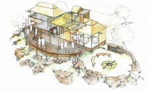 Victoria Falls_main_lodge_camping_house_design_layout_perspective_elevation_pencil_graphite_drawing_watercolour_illustration 2
