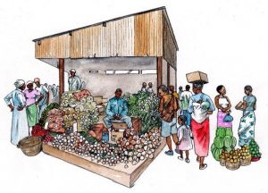 african_people_vegetable_farmers_market_traders_landscape_mixed media_watercolour_painting_pencil_drawing_book_illustration 2