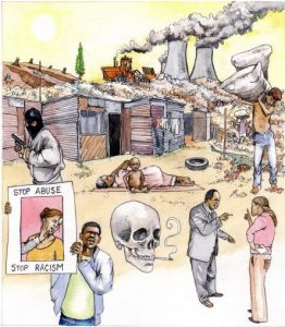 african_township__homes_sanitation_health_poverty_environmental_pollution_mixed media_watercolour_painting_pencil_drawing_book_illustration 3
