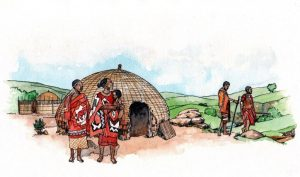 african_traditional tribal_homestead_landscape_mixed media_watercolour_painting_pencil_drawing_book_illustration 2