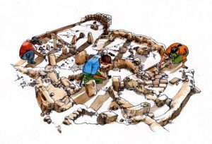 archaeology_ excavation_ history_people_ mixed media_ watercolour_ painting_pencil_ drawing_book_ illustration 2
