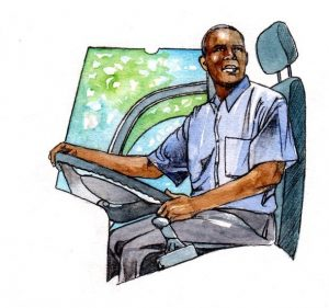 bus driver_employment_driver_mixed media_watercolour_painting_pencil_drawing_book_illustration 2