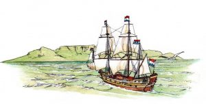 cape town_historical_ship_discovery_table mountain_mixed media_watercolour_painting_pencil_drawing_book_illustration 2