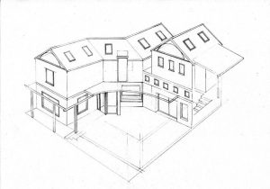 courtyard 1_house_design_layout_perspective_elevation_pencil graphite_drawing_illustration 2