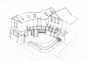 courtyard 2_house_design_layout_perspective_elevation_pencil_graphite_drawing_illustration 2