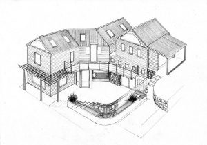 courtyard 3_house_design_layout_perspective_elevation_pencil_graphite_drawing_illustration 2