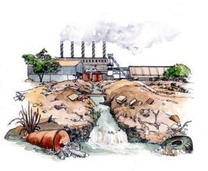 environmental_impact_factory_oil_nature_pollution_rivers_water_mixed media_watercolour_painting_pencil_drawing_book_illustration 3