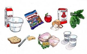 food_groceries_milk_flour_eggs_water_food groups_sweets_dairy_vegetables_mixed media_watercolour_painting_pencil_drawing_book_illustration 2