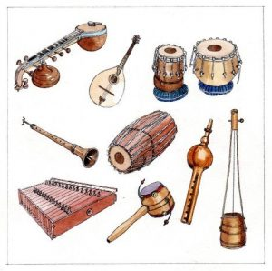 musical_instruments_various_world_string_drum_mixed media_watercolour_painting_pencil_drawing_book_illustration 2