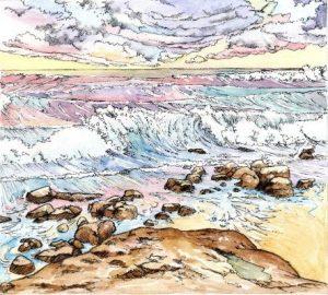 ocean_beach_rocks_waves_landscape_sky_mixed media_watercolour_painting_pencil_drawing_book_illustration 2