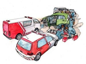 people_accident_rescue_ambulance_medical_mixed media_watercolour_painting_pencil_drawing_book_illustration 2