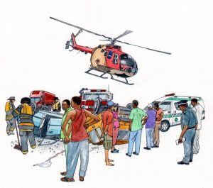 people_accident_rescue_helicopter_medical_mixed media_watercolour_painting_pencil_drawing_book_illustration 2