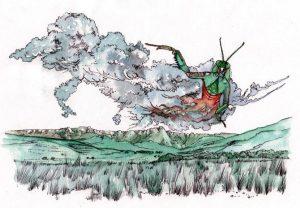 praying mantis_god_african_folklore_mixed media_watercolour_painting_pencil_drawing_book_illustration 2