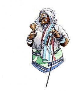 sangoma_traditional_healer_xhosa_mixed media_watercolour_painting_pencil_drawing_book_illustration 2
