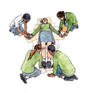 school_children_group_students_experiment_watercolour_painting_pencil_drawing_book_illustration 2