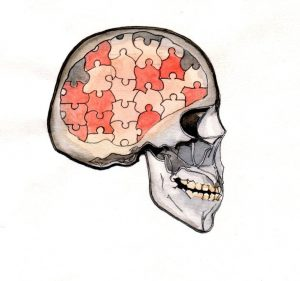 skull_map_puzzle_mind_mixed media_watercolour_painting_pencil_drawing_book_illustration 2