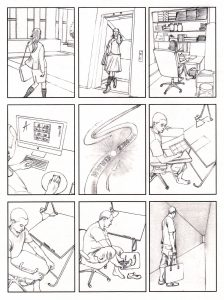 storyboard_going to work_mixed media_watercolour_painting_pencil_drawing_book_illustration 2
