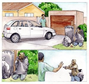 storyboard_highjacking_home_mixed media_watercolour_painting_pencil_drawing_book_illustration 2