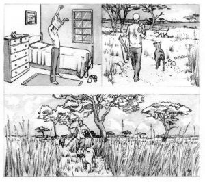 storyboard_hunting_man_dog_mixed media_watercolour_painting_pencil_drawing_book_illustration 2