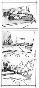 storyboard_person_going to work_driving_car_mixed media_watercolour_painting_pencil_drawing_book_illustration 2