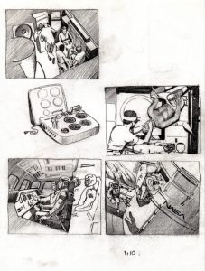storyboard_space_exploration_shuttle_astronauts_mixed media_watercolour_painting_pencil_drawing_book_illustration 2