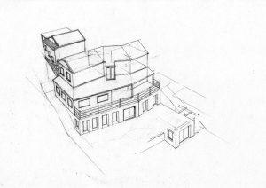 west 3_house_renovation landscape_design_layout_perspective_elevation_pencil graphite_drawing_watercolour_illustration 2