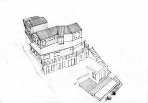 west 4_house_renovation_landscape_design_layout_perspective_elevation_pencil_graphite_drawing_watercolour_illustration 2