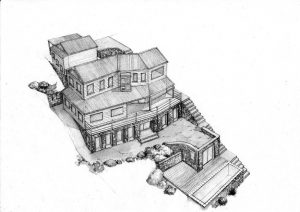 west 5_house_renovation_landscape_design_layout_perspective_elevation_pencil_graphite_drawing_watercolour_illustration 2