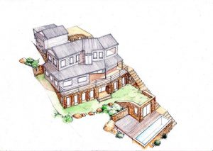 west 6_house_renovation_landscape_design_layout_perspective_elevation_pencil_graphite_drawing_watercolour_illustration 2