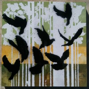 Block 12_In flight_mixed media_charcoal_drawing_acrylic_painting_stencil