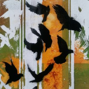 Block 13_In flight_mixed media_charcoal_drawing_acrylic_painting_stencil