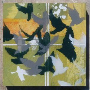 Block 14_In flight_mixed media_charcoal_drawing_acrylic_painting_stencil