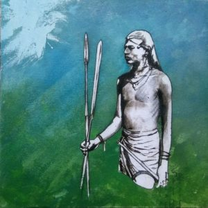 Block 44_ Tiny Treasure_mixed media_charcoal_drawing_acrylic_painting_male_maasai warrior_nude_study_figurative