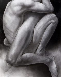 Block 49_Embrace_mixed media_charcoal_drawing_acrylic_painting_female_male_lovers_nude_study_figurative