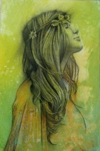Block 4_mixed media_charcoal_drawing_acrylic_painting_female_young woman_portrait 1