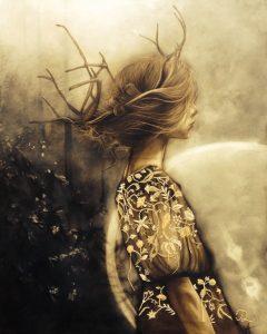 Dawn Girl 1_2014_mixed media_artwork_acrylic_charcoal_on canavas_495mm x 550mm_female figure_beauty_portrait