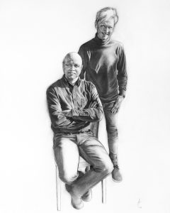 Dieter and Keith_business partners_portrait_charcoal_drawing