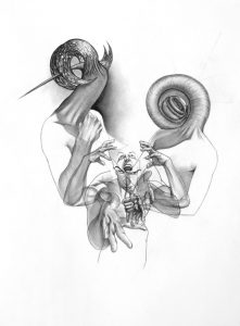 Either Or_2005_charcoal_drawing_on board_male_female_duality_artist_portrait