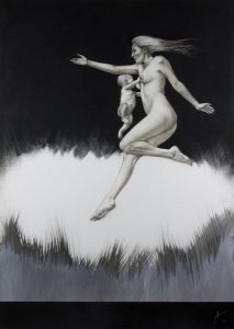 Gaia Alesco 1_2015_mixed medi_charcoal drawing_acryli_on board_594mm x 841mm_female figure_mother and child