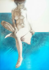 Inner_Requiescence_2015_charcoal_drawing_acrylic_oil_painting_mixed media_on board_670mm x 940mm_female nude_figure