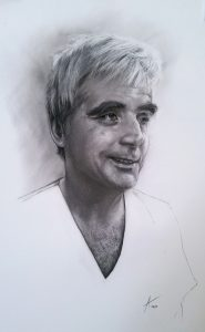 John Coetsee_the dentist_charcoal_portrait_drawing