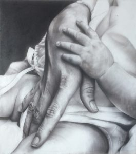 Kais 13th_mother and son_charcoal drawing