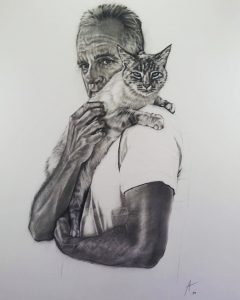Mark and Calico_pet_charcoal_portrait_drawing
