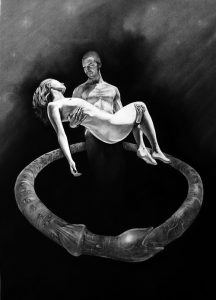 Ring of Desire_2005_charcoal_drawing on board_male_female_nude_figure_love